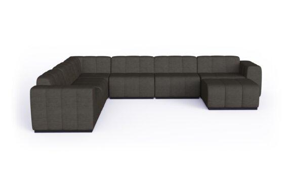 Connect Modular 7 U-Sofa Chaise Sectional Modular Sofa - Flanelle by Blinde Design