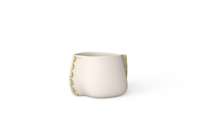 Stitch 25 Plant Pot - Bone / Yellow by Blinde Design