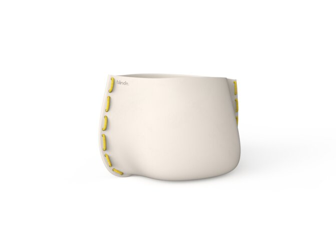 Stitch 75 Plant Pot - Bone / Yellow by Blinde Design