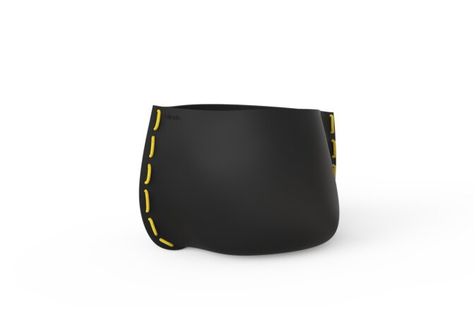 Stitch 75 Plant Pot - Graphite / Yellow by Blinde Design