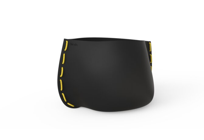 Stitch 100 Plant Pot - Graphite / Yellow by Blinde Design