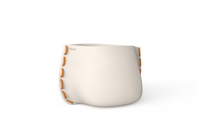 Stitch 75 Plant Pot - Bone / Orange by Blinde Design